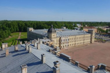 Summer day and an interesting excursion to the Gatchina Palace, view from the observation tower of the palace