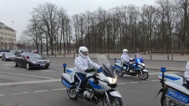 Police Escort With Motorcycles Escorting Armenian Politician In Berlin Germany Stock Footage