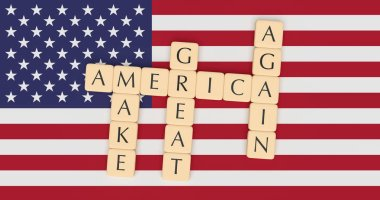 Letter Tiles Make America Great Again With US Flag, 3d illustration