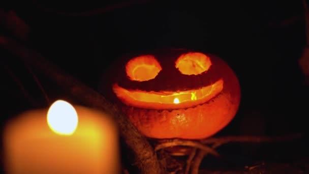 Tök fej arc alakú kivágások maradnak faágak elszigetelt fekete háttér szabadban. Gyertya láng ég a Jack o lámpás fején belül a mély éjszakában, közelről. Boldog Ünnepeket Halloween koncepció
