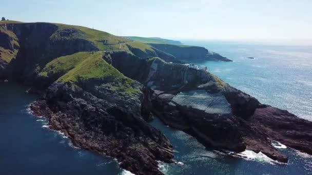 Aerial view of Bridge to Mizen Head lighthouse in southern Ireland