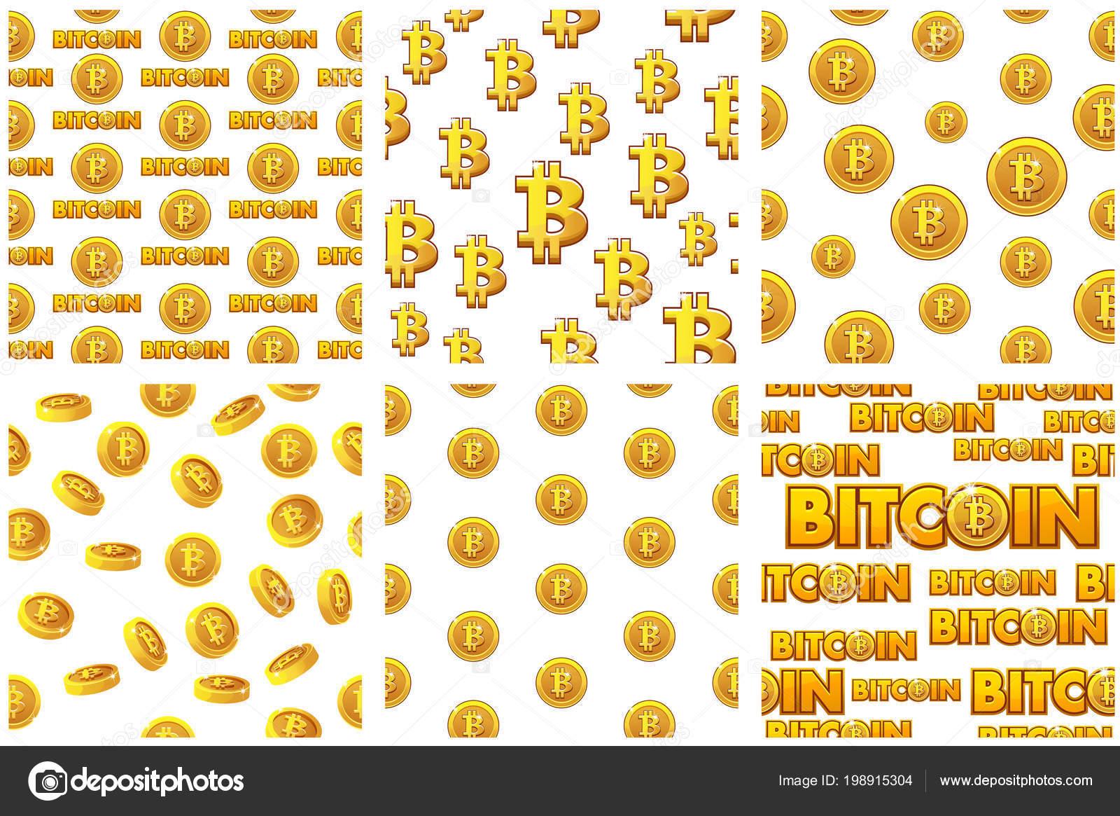 colección monedas sin costura patrones Bitcoin oro sobre fondo ...