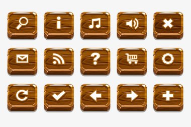 Wooden square buttons with different menu elements for web or game design, similar JPG copy stock vector