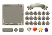 Fotografia Grande patrimonio pietra set Cartoon grigio e pulsanti per il gioco di interfaccia utente, icone dellinterfaccia. Copia simile Jpg