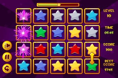 Interface STAR Match3 Games. Multicolored stars, game assets icons and buttons. Similar JPG copy stock vector