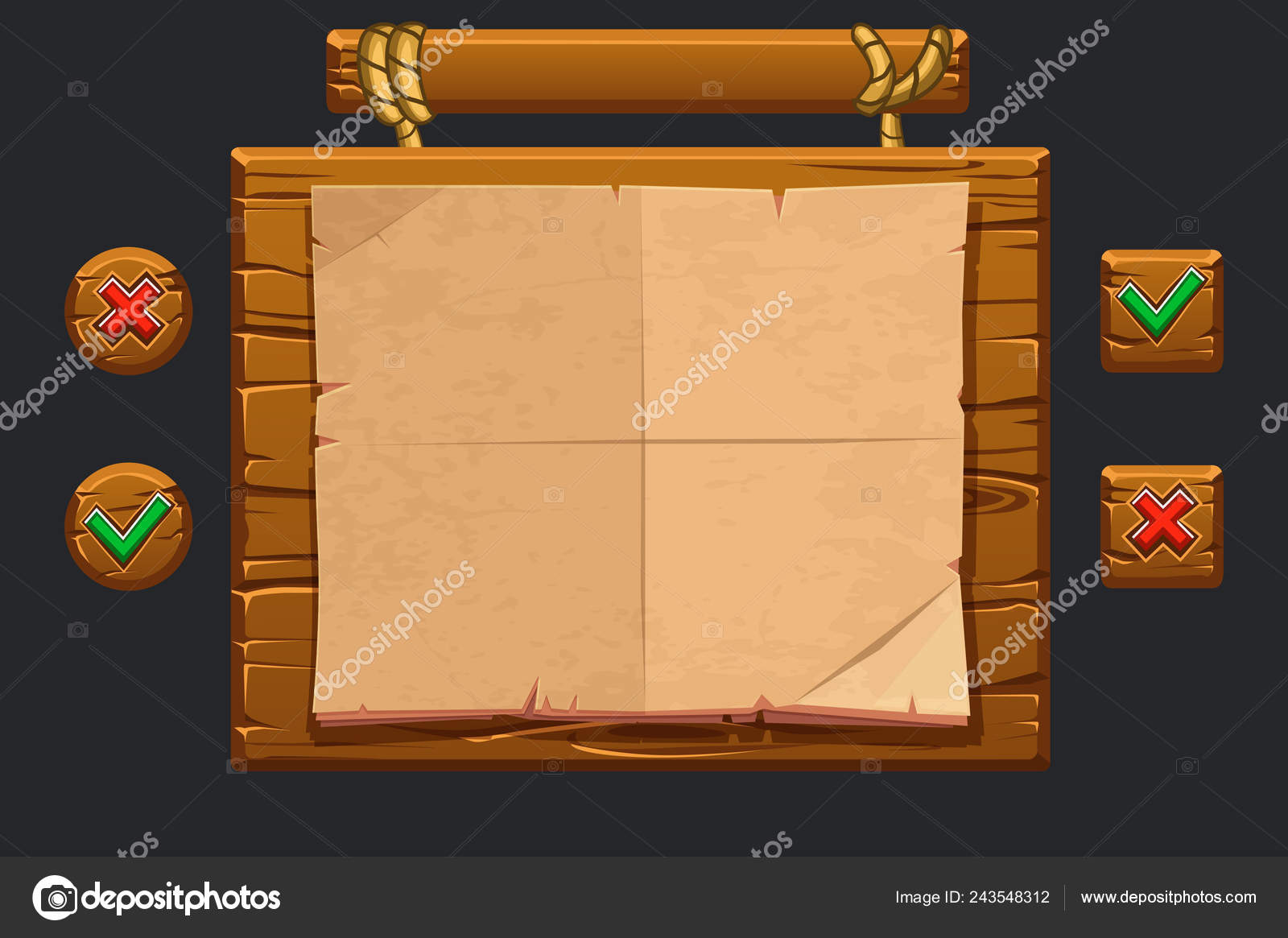 Vector game ui kit  Template wooden menu of graphical user