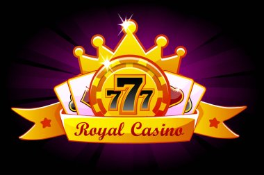 Casino Royale banner with ribbon and crown, icon and text. Symbols poker, 777, Playing Cards and game chip. Vector illustration for casino, slots and game UI. Objects on a separate layer