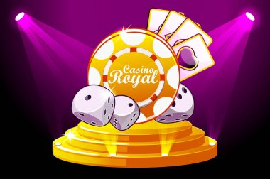 Casino Royale banner with lighting Icon Playing Chip and Dice. Vector symbols poker on Stage Podium Scene. Illustration for casino, slots and game UI.