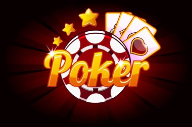 Poker banner with Icon Playing Cards and Chip. Vector symbols casino. Illustration for casino, slots and game UI.