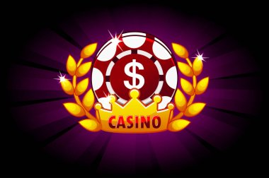 Casino banner with poker chip and crown, icon and text. Symbols poker. Vector illustration for casino, slots and game UI. Objects on a separate layer