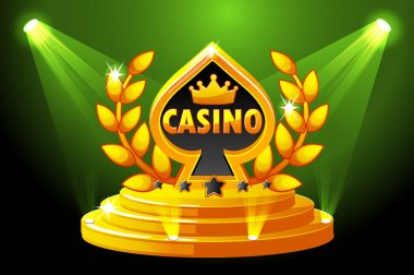 Casino and Playing Card Symbol. Banner with lighting, icon on Stage Podium Scene. Vector illustration for casino, slots and game UI. Objects on a separate layer