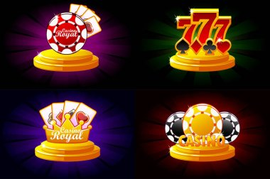 Casino and Poker icons. Symbols poker, 777, Playing Cards and game chip. Vector illustration for casino, slots and game UI.