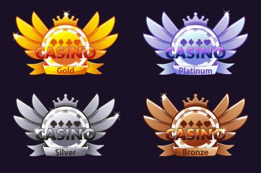Casino awards. Casino rating icons with poker chip and crown. Vector illustration for casino, slots and game UI.