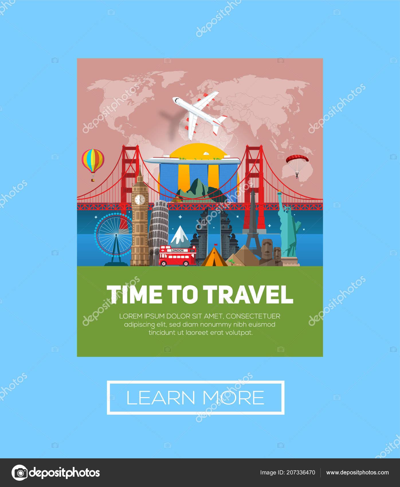 Time Travel Concept Frame Miniature Places Landmarks Vector ...