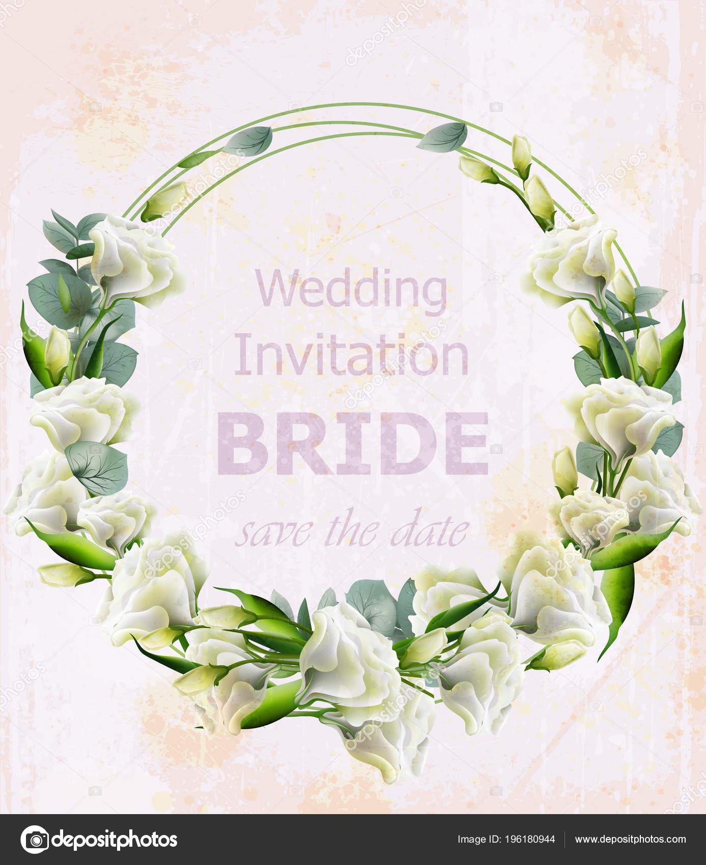 Aquarell Weisse Blumen Vektor Kranz Schone Hochzeitseinladung