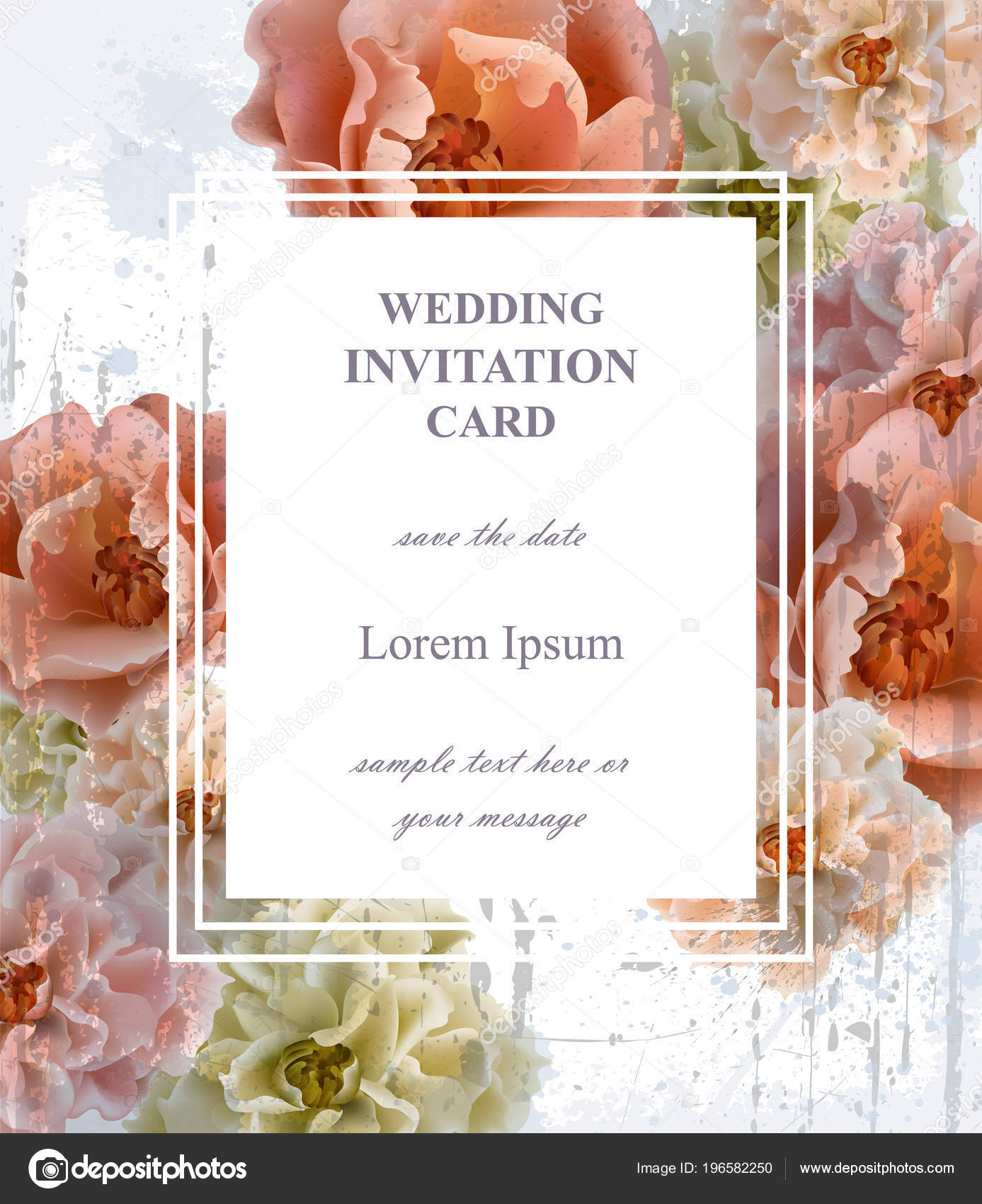 Wedding invitation card Vector. Beautiful floral frame vertical. Banner poster template 3d backgrounds —