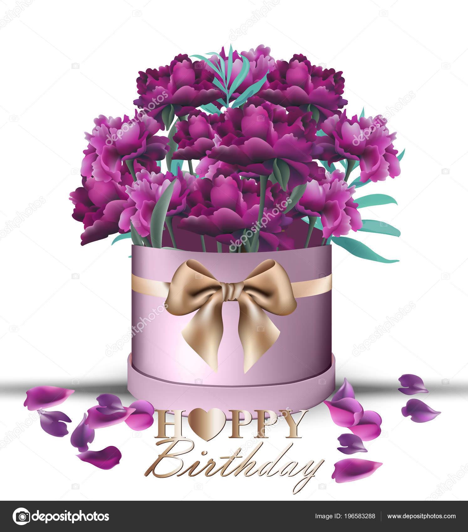 Joyeux Anniversaire Pivoine Fleurs Bouquet Carte Vecteur