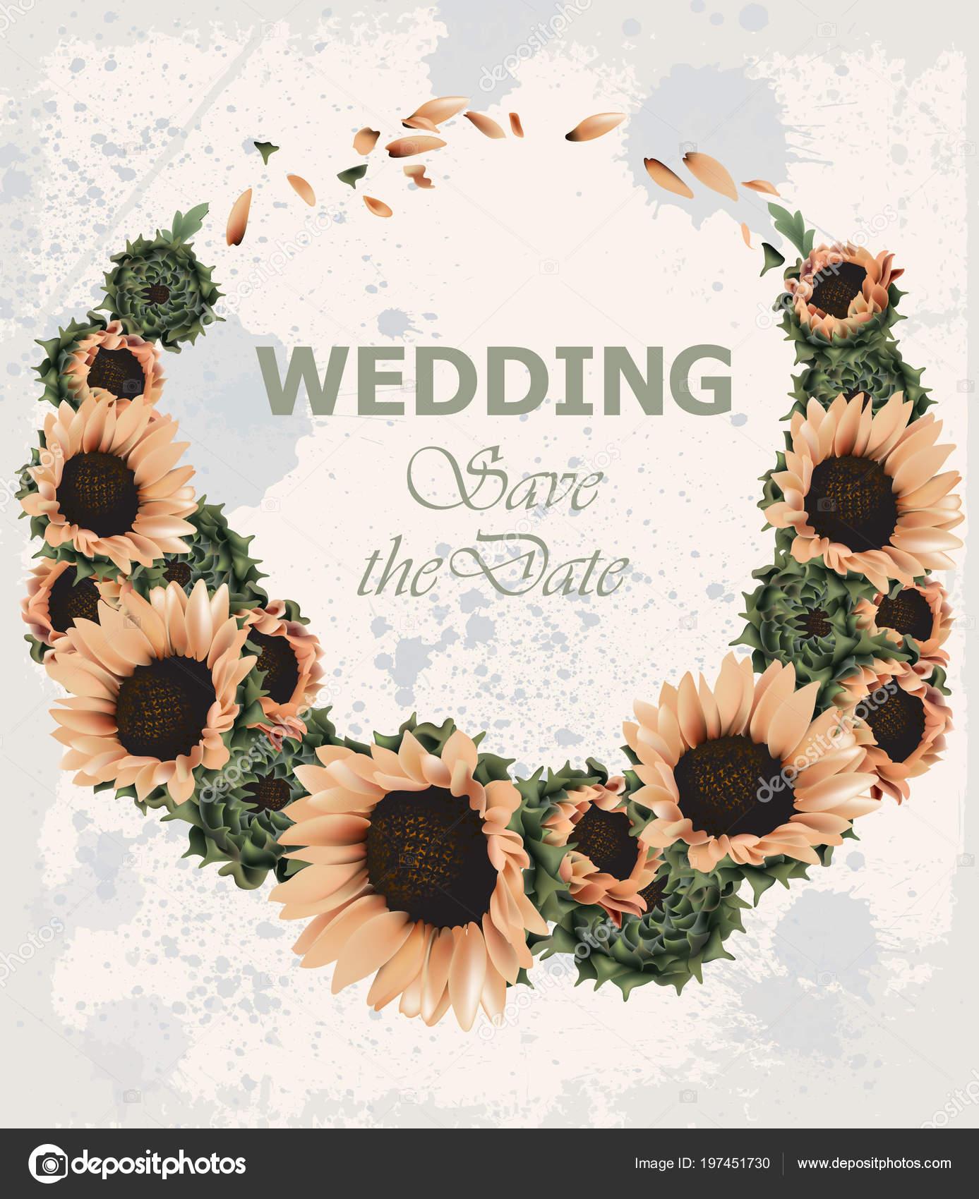 Vintage wedding invitation with sunflowers wreath vector beautiful vintage wedding invitation with sunflowers wreath vector beautiful spring summer card old grunge style stopboris Choice Image