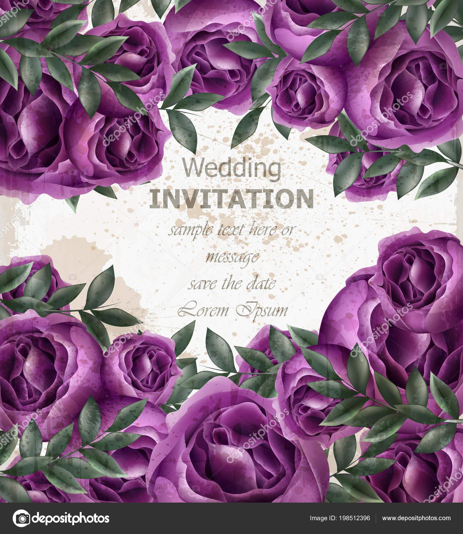 Wedding Invitation roses card Vector. Beautiful violet roses flowers ...