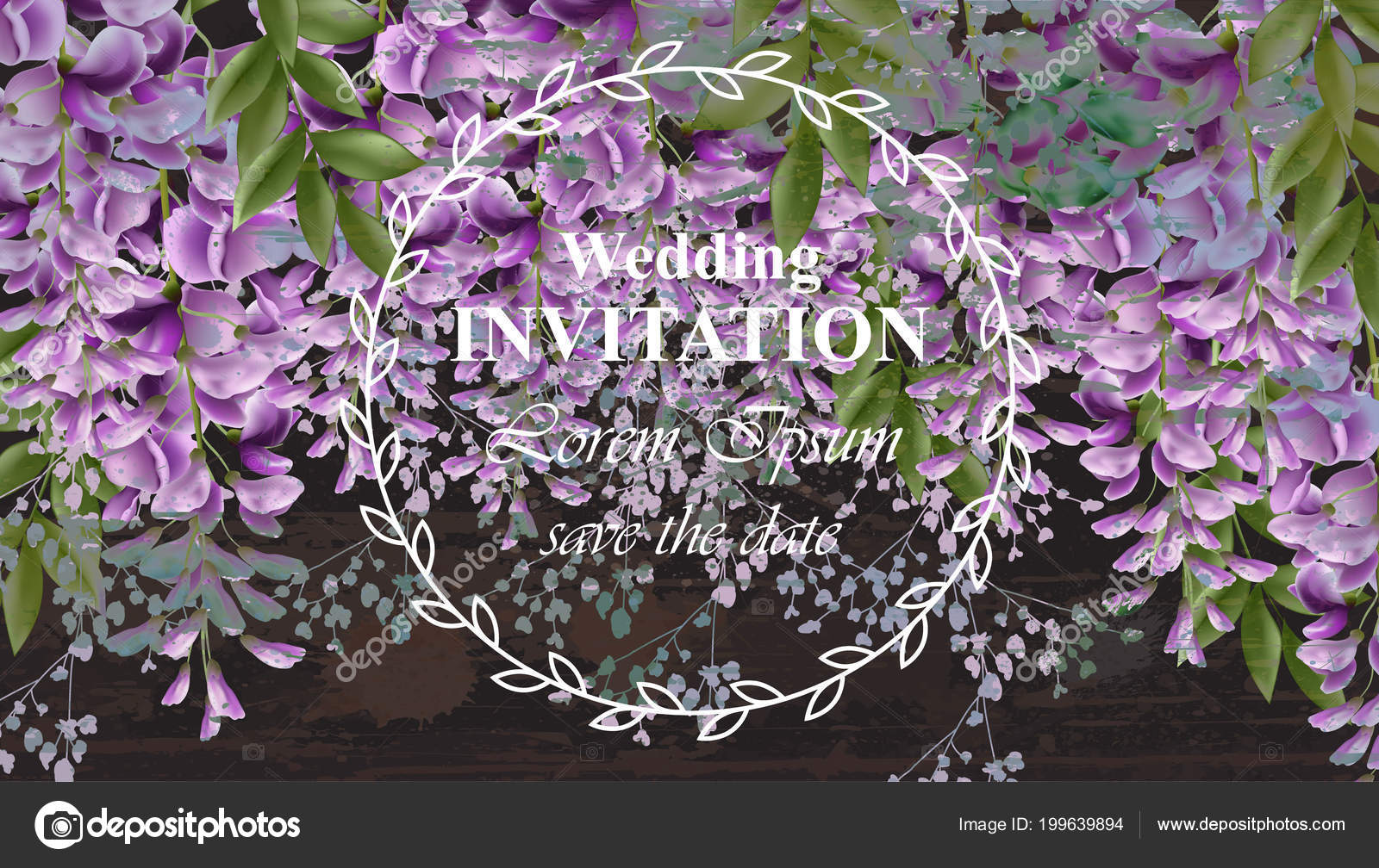 Wisteria Flowers Wedding Invitation Card Vector Gorgeous Nature