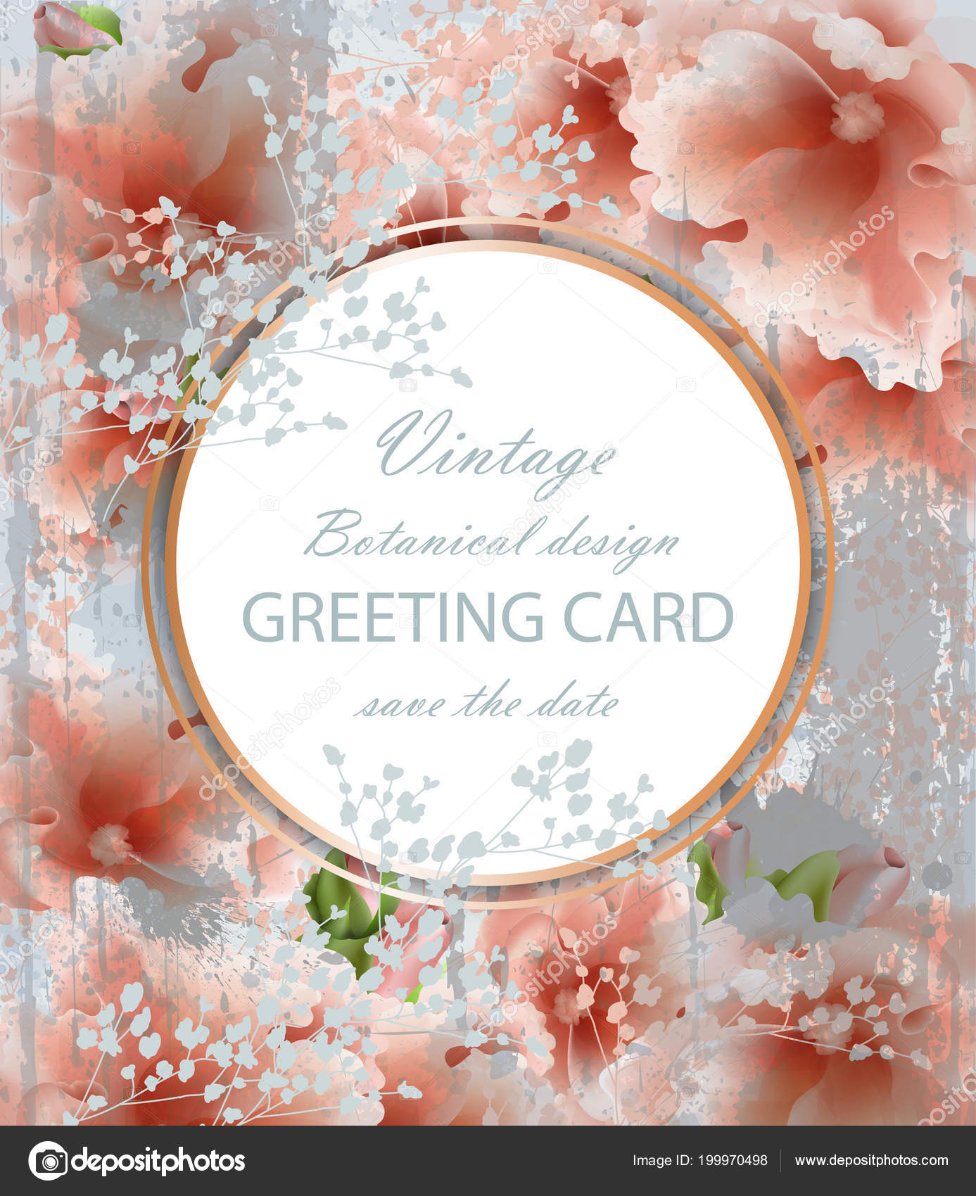 Greeting Card With Beautiful Delicate Pink Flowers Botanical
