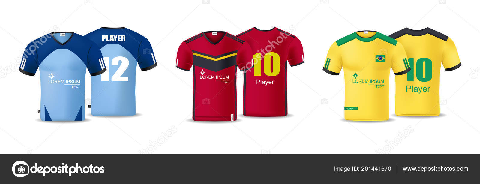 Football T Shirts Collection Vector Design Template For Soccer