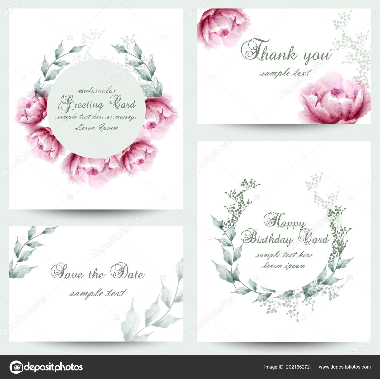 Watercolor Peony Flowers Blossom Card Set Vintage Greeting Cards