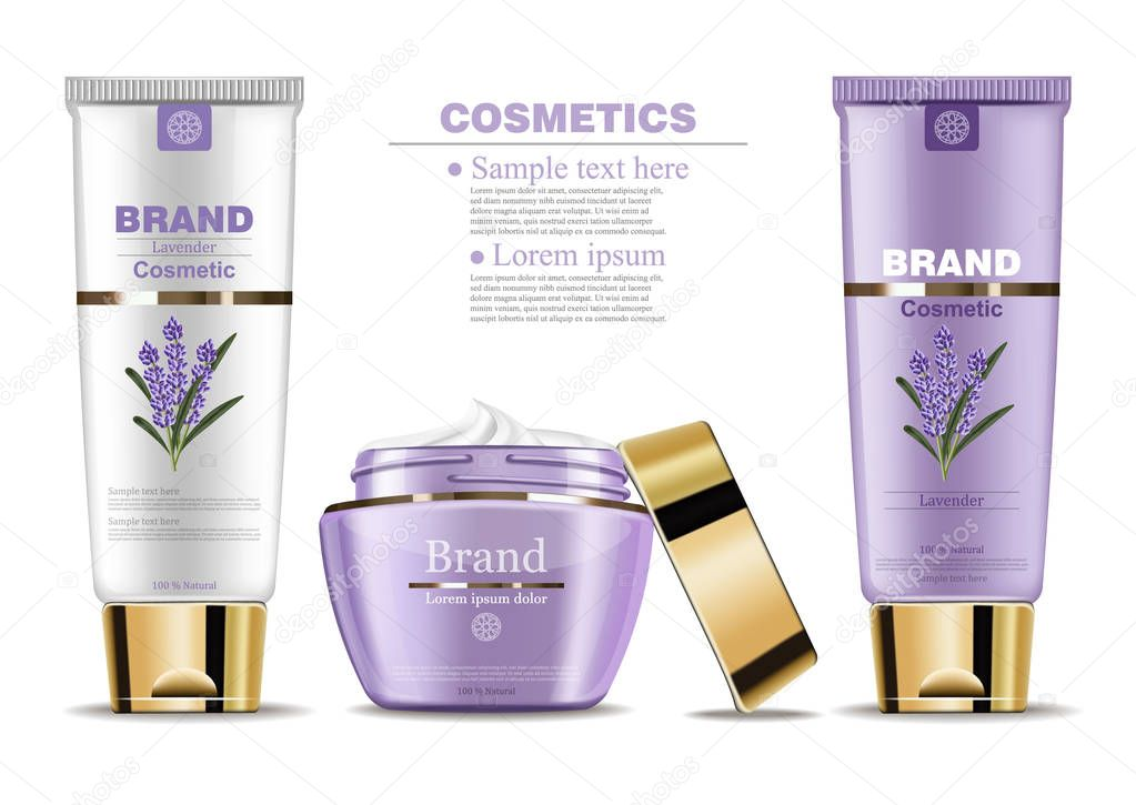 Lavender cream cosmetic set collection Vector mock up. Realistic product packaging label designs. Lotion, facecream and handcream isolated