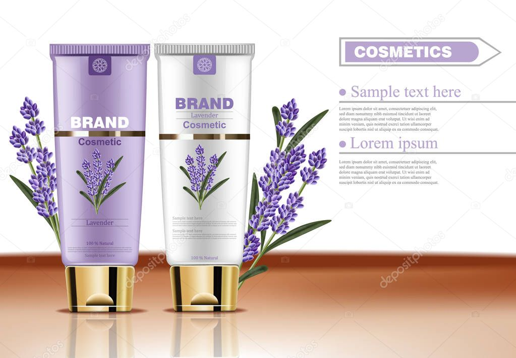 Lavender cream cosmetic set collection Vector mock up. Realistic product packaging label designs. Lotion and body cream