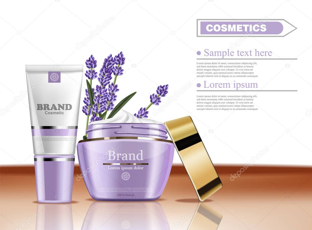 Lavender cream cosmetic set collection Vector mock up. Realistic product packaging label designs. Lotion and face cream