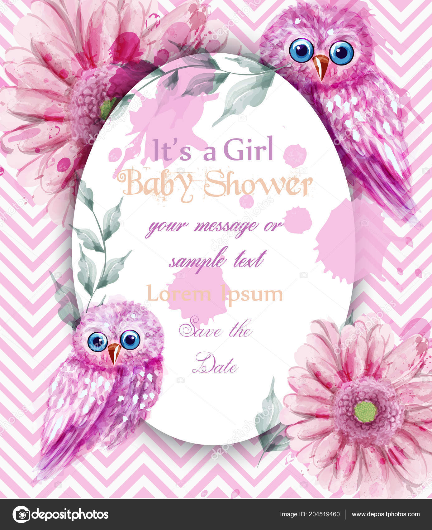 Cute pink owls card baby shower invitation vector watercolor cute pink owls card baby shower invitation vector watercolor delicate decorations vetores de stock stopboris Image collections