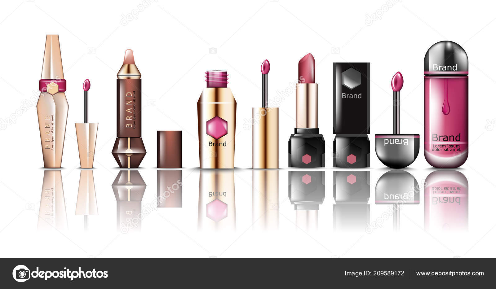 Lipstick cosmetics set collection Vector. Realistic detailed beauty products mock up. Product packaging design label brand. Advertise template banner ...