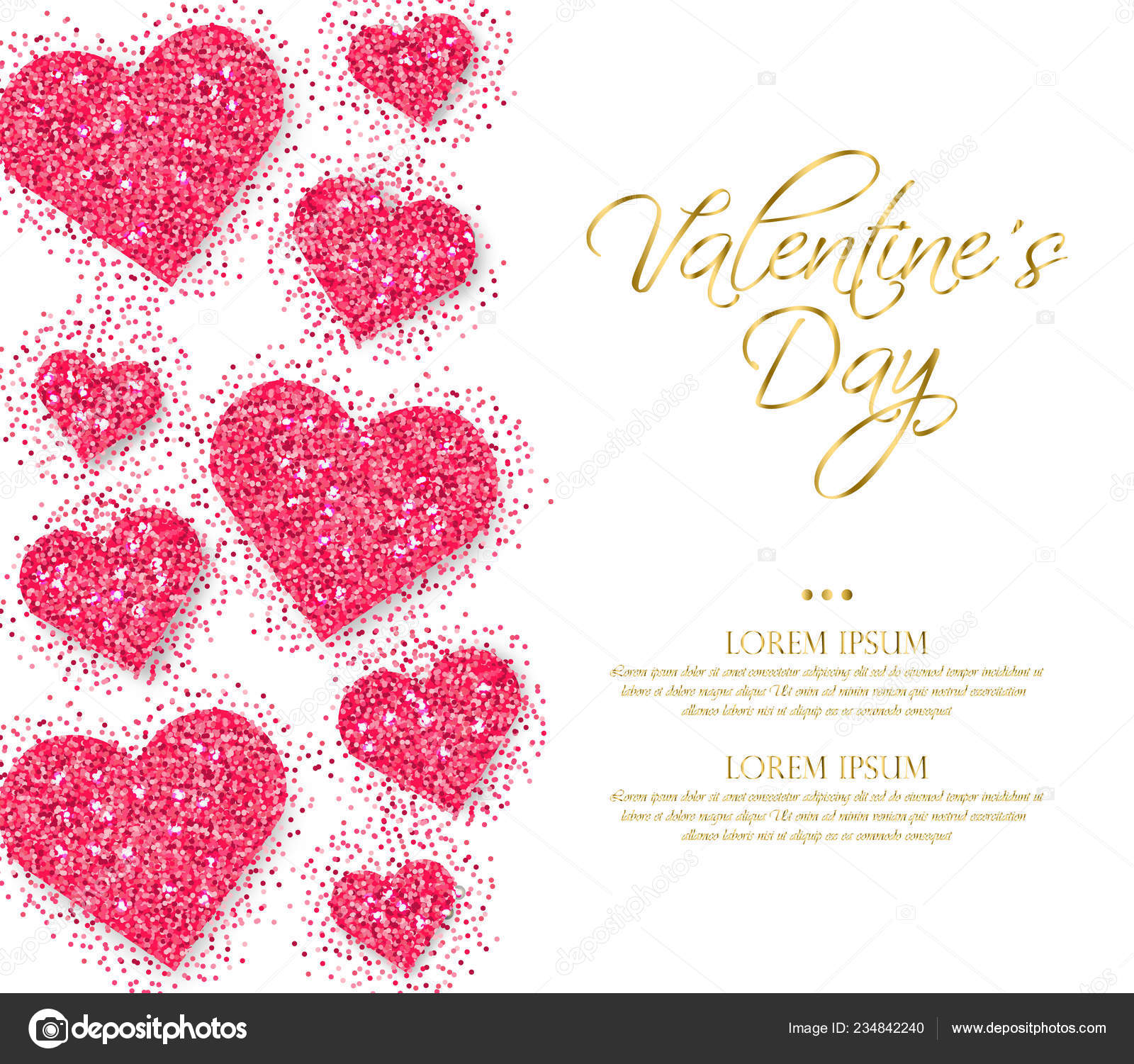 Pink Glitter Hearts Valentine Day Vector Romantic Card Template