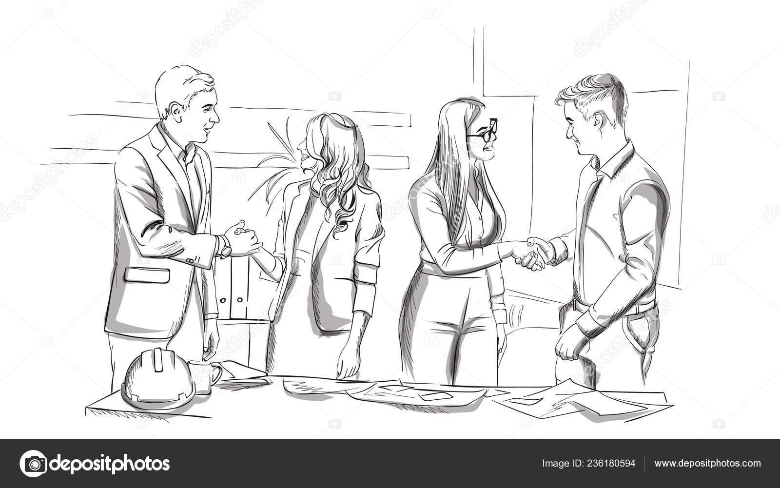 Businessmen and women succesful team shaking hands Vector sketch