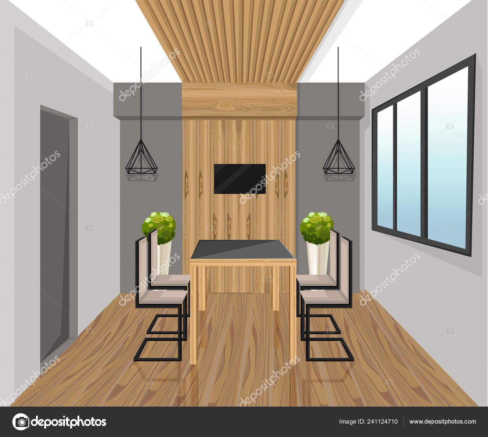 Diseño de interiores estilo Vector. Mesa de comedor. Panel ...