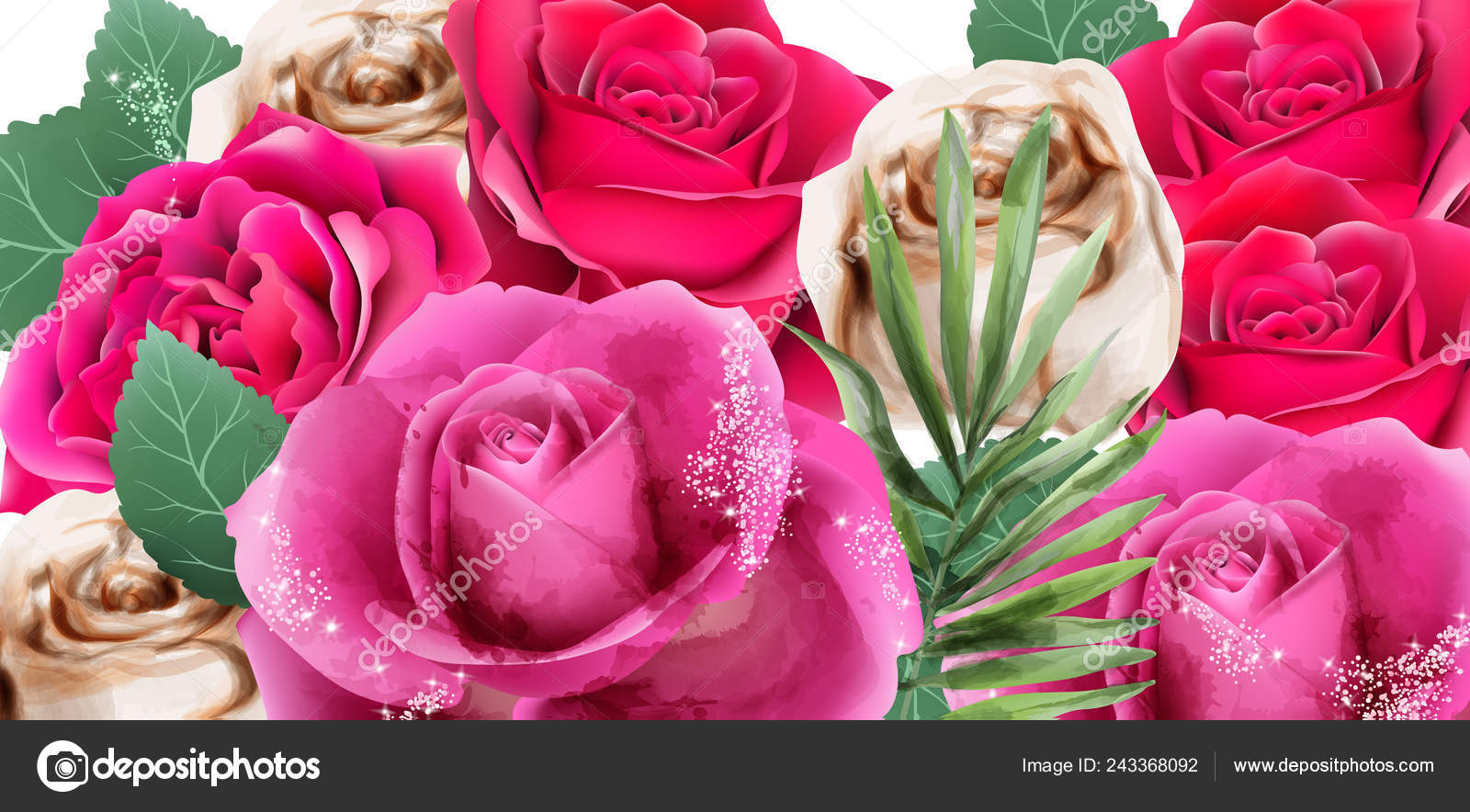 Pink Roses And Glitter Watercolor Vector Beautiful Floral
