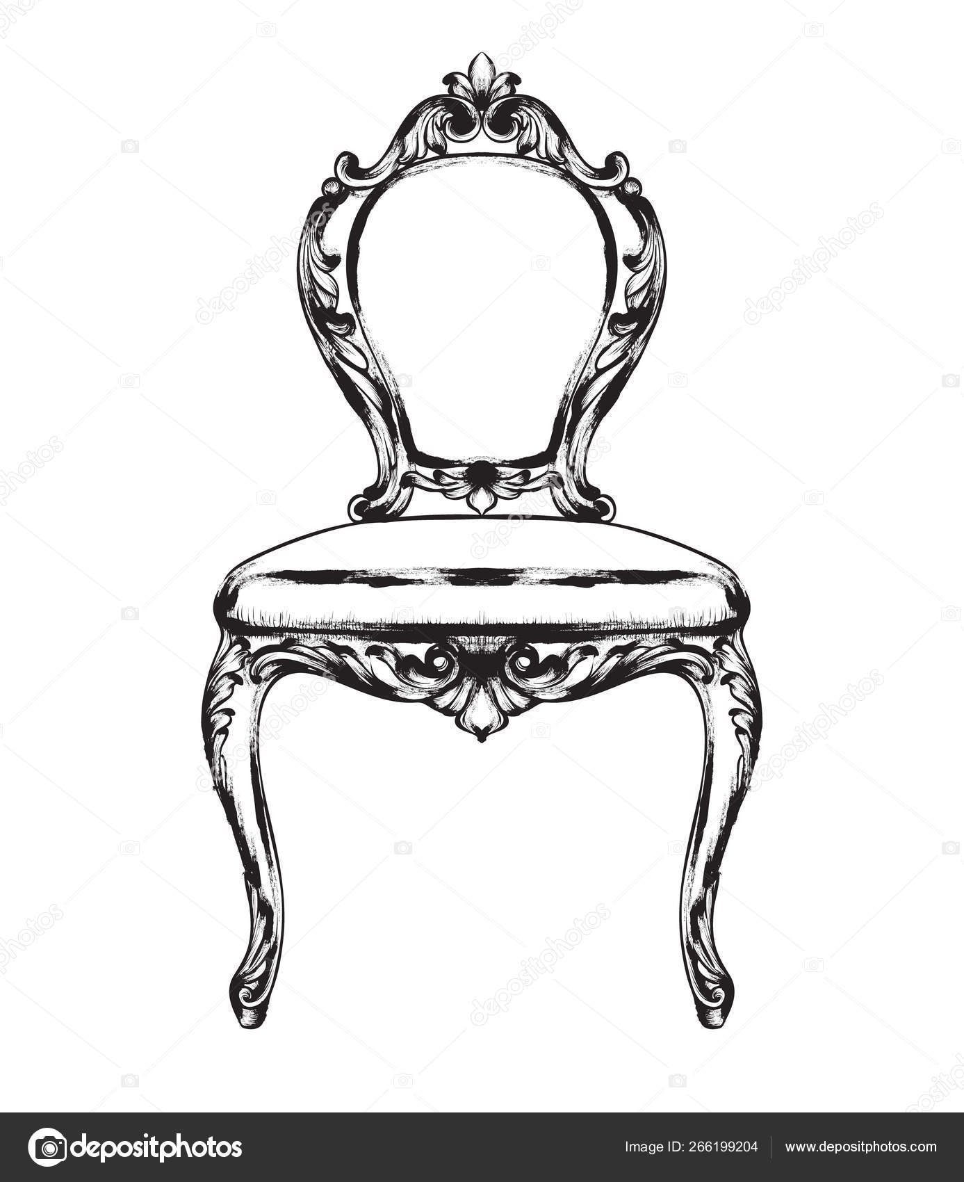 Astounding Rich Baroque Chair Vector Retro Style Furniture Vintage Machost Co Dining Chair Design Ideas Machostcouk