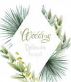 Wedding watercolor bouquet with palm leaves. Background Vectors