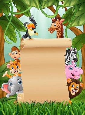"""Картина, постер, плакат, фотообои """"иллюстрация животных с бумажным бланком в лесу """", артикул 196977062"""