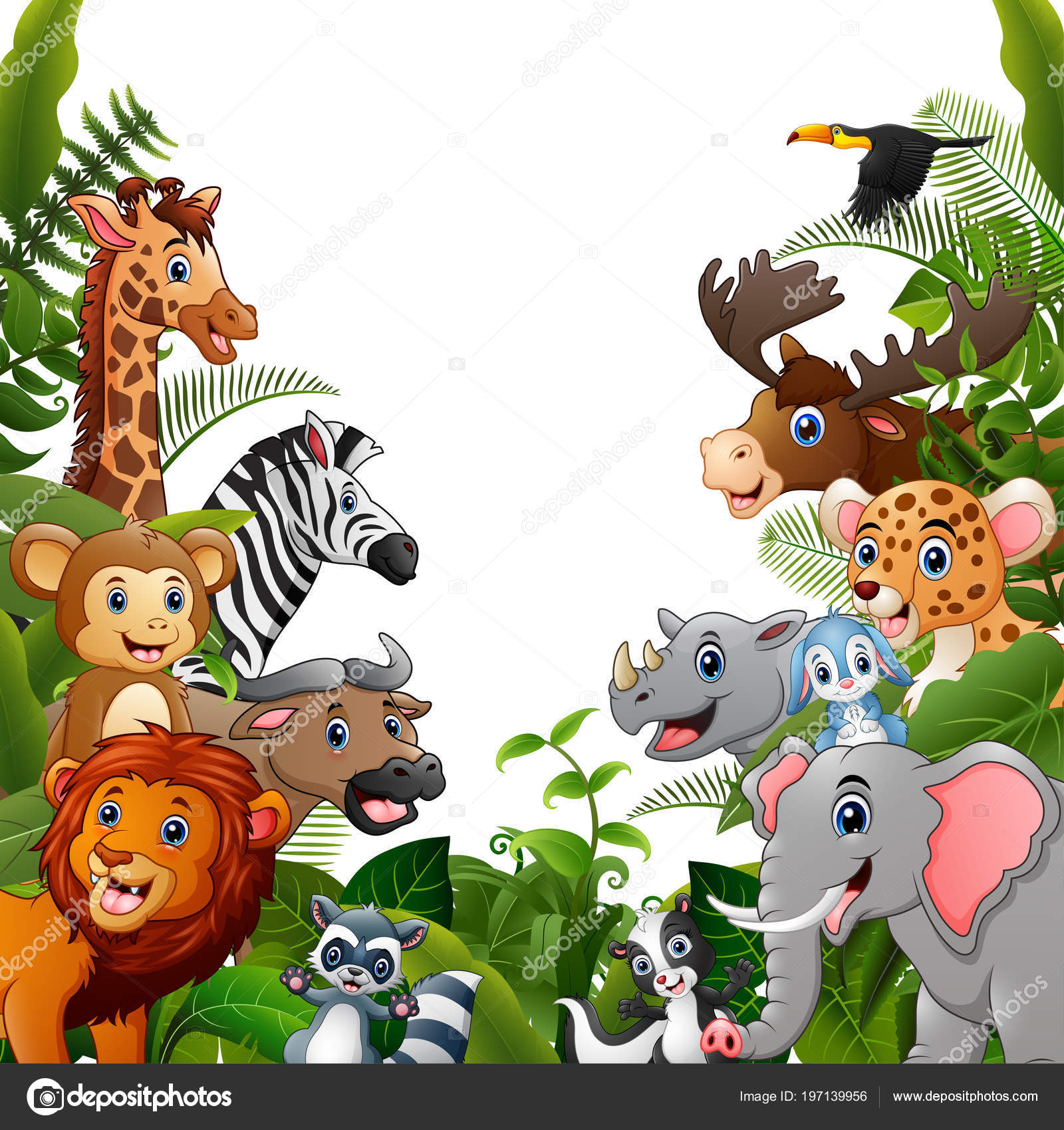 Illustration Animals Forest Cartoon Meet Together Stock Vector