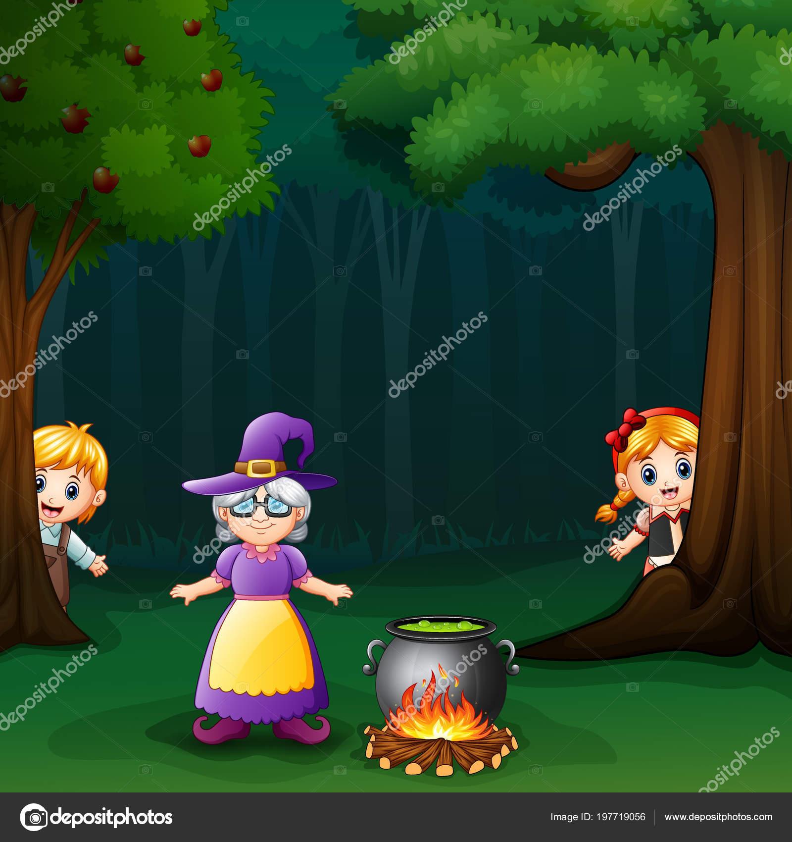 Illustrazione hansel gretel nella foresta con strega u vettoriali