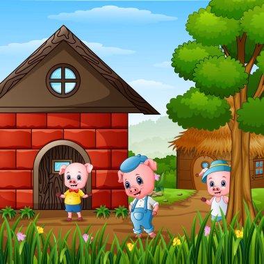 Vector illustration of Three little pigs at village