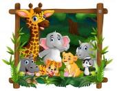 Vektoros illusztráció boldog vadon élő állatok keret erdő