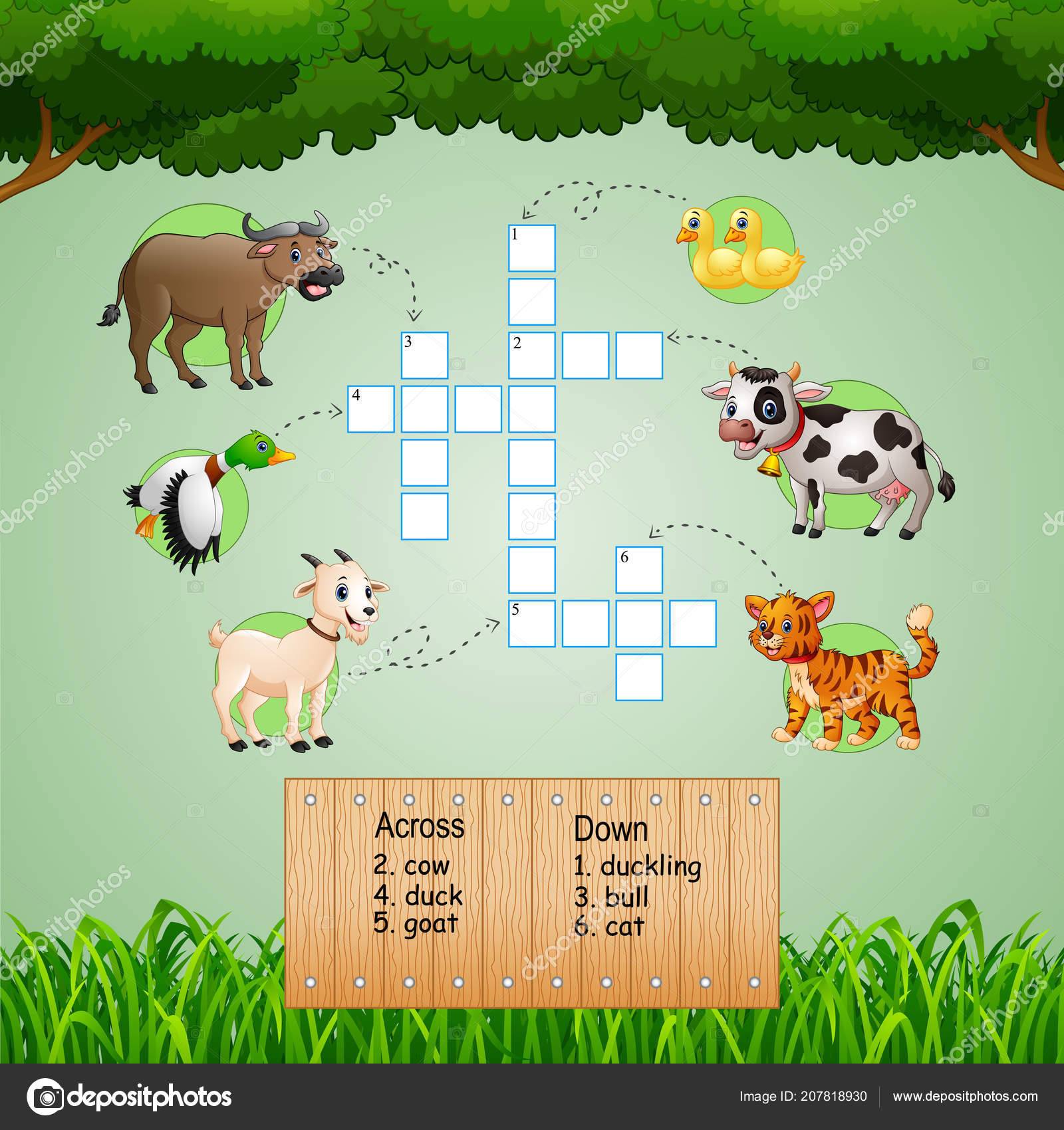 Vector Illustration Animal Crossword Puzzles Kids Games Stock