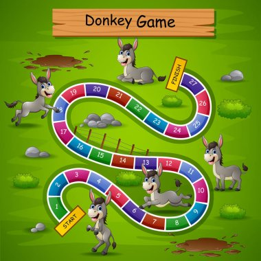 Vector illustration of Snakes and ladders game donkeys theme