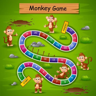 Vector illustration of Snakes and ladders game monkey theme