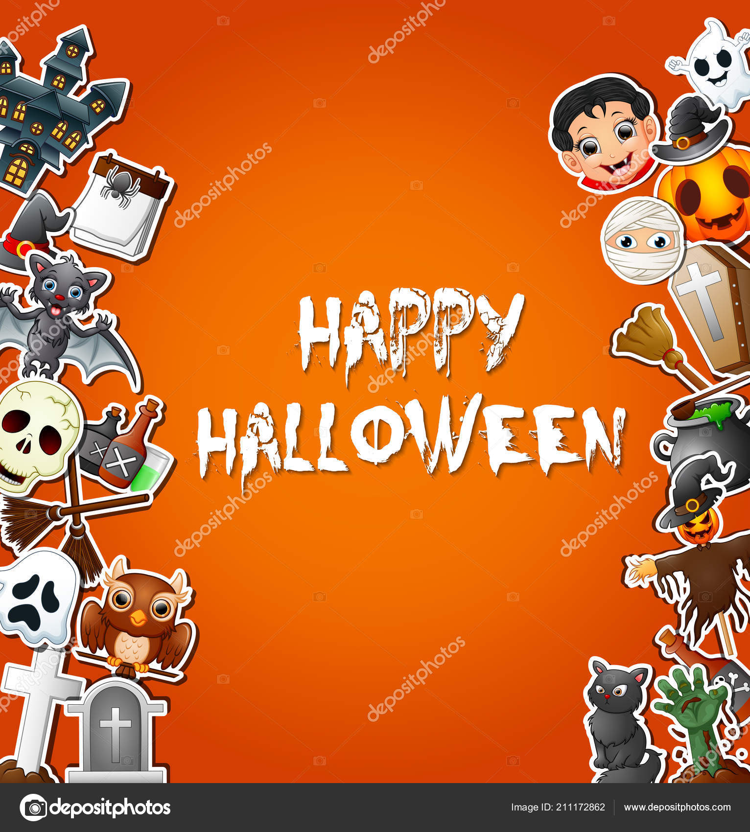 Vector Illustration Happy Halloween Card Celebrations Character