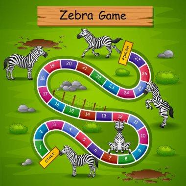 Vector illustration of Snakes ladders game zebra theme