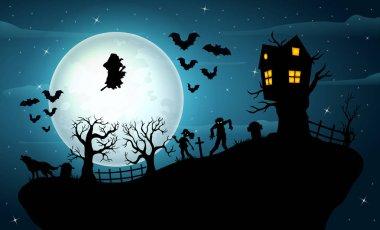Vector illustration of Halloween night celebration on the hill