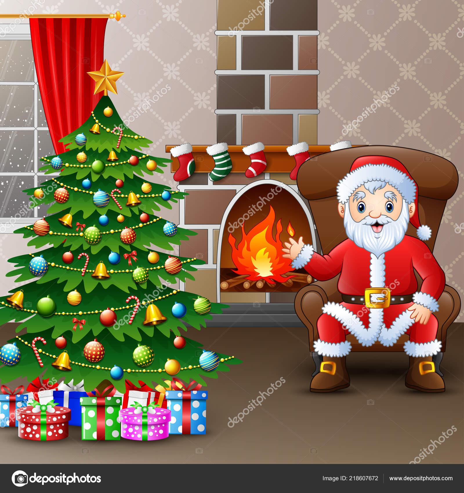 Weihnachtsmann Sitzt Sofa Der Nähe Von Geschmückten